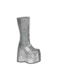 STACK-301G Silver Glitter Platform Boots  Manson's shoe from The Beautiful People Music Video