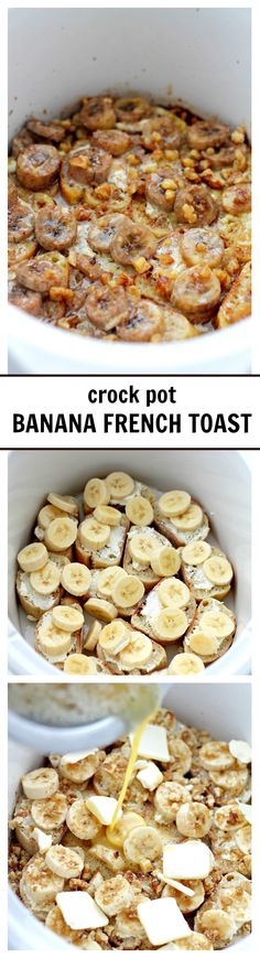 Crock Pot Creamy Banana French Toast | 388 cal www.diethood.com | Full of amazing flavors, this French Toast is loaded with bananas and it's baked in the Crock Pot. Much easier than slaving over the stove!