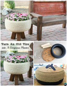 DIY Tire Planter Stand Instruction-DIY Tire Planter Ideas