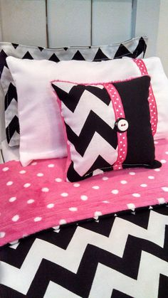 "American Girl Bedding - Black And White Chevron 5 Piece Bedding Set for 18"" Dolls Chevron Bedding Set American Girl Doll Bedding"
