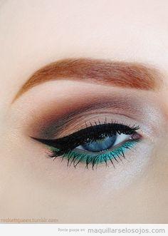 Maquillaje de ojos , eyeliner en verde y negro