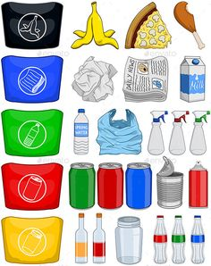 Vector illustration pack of organic paper plastic aluminium and glass items for recycling. Vector illustration pack of organic paper plastic aluminium and glass items for recycling. What To Recycle, Reduce Reuse Recycle, Recycling For Kids, Recycling Bins, Recycling Activities For Kids, Earth Day Activities, Preschool Activities, Recycle Symbol, Earth Day Crafts