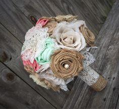 burlap/ satin/ lace mix bouquet