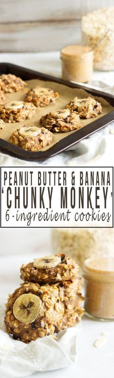 Peanut Butter, Banana and Chocolate 'Chunky Monkey' Cookies | These cookies are 6 ingredients, so simple to make and ready in under 30 minutes!