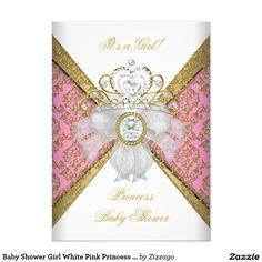pretty bow tiara princess baby shower invitation | princess baby, Baby shower invitations