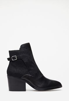Buckled Ponyhair Leather Booties | FOREVER21 | #stepitup