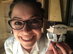 "7,779 Likes, 41 Comments - Orphan Black (@orphanblacktv) on Instagram: """"It's mini-me!"" @TatianaMaslany posing with KellyBlakeArt's (twitter) papercraft artwork."""