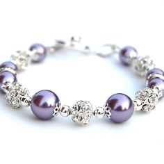 Lavender Pearl Bracelet, Bling Jewelry, Purple Bridesmaid Jewelry, Bridesmaid Presents, Purple Weddi Bling Jewelry, Wire Jewelry, Jewelry Crafts, Beaded Jewelry, Jewelery, Jewelry Bracelets, Jewelry Accessories, Jewelry Design, Pearl Bracelets