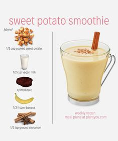 We love everything sweet potato! Did you know sweet potato can taste good in a smoothie too? Well, why dont you try it out for yourself? This simple whole food plant-based recipe includes 5 ingredients and you wont be disappointed. Easy Smoothie Recipes, Easy Smoothies, Fruit Smoothies, Smoothie Diet, Sweet Potato Smoothie, Whole Food Recipes, Vegan Recipes, Sweet Recipes, Healthy Vegan Breakfast