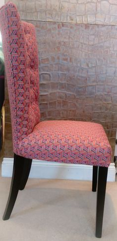 Bespoke hand made button back dining chair, dark wood legs and striking printed fabric. Swivel Chair, Armchair, Wood Colors, Colours, Bespoke Sofas, Cushion Filling, How To Make Buttons, Dark Wood, Sofa Bed