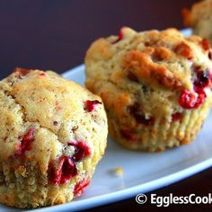Flavorful orange and cranberry muffins studded with pieces of pecans. These muffins are vegan and low fat too but this does not affect the taste. Flax seed powder is used as an egg substitute in this recipe. Vegan Treats, Vegan Foods, Vegan Desserts, Vegan Recipes, Free Recipes, Eggless Recipes, Eggless Baking, Savory Foods, Vegan Dishes