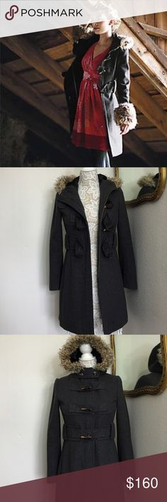 ✨like New✨Anthropologie Gray hood Toggle PeaCoat FREE MYSTERY GIFT WITH PURCHASE! Beautiful size small hooded toggle pea coat by elevenses.  Originally $268 from Anthropologie. Look fashion forward in this trench coat style hooded pea coat with toggle closures and photo for trim. Originally came with fur trim on wrist cuffs as shown in pics but I no longer have those. Otherwise in flawless condition. a nice lightweight but warm gray wool coat for the winter. Price is firm. Anthropologie…