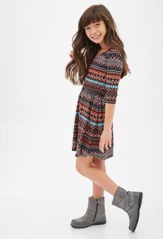 Tribal Print Bow-Back Dress (Kids)   FOREVER21 girls - 2000082198