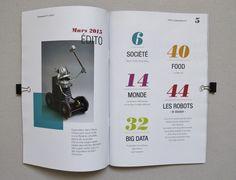 Magazine, mise en page, layout, graphisme, couleurs, illustration, robot original, sommaire