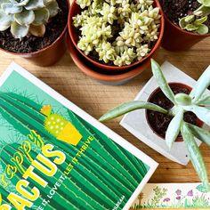 happy cactus succulents and watercolor book mark design