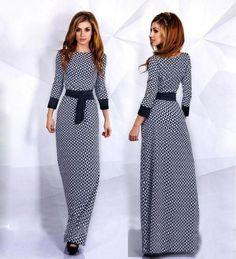 Scoop Long Sleeves Plaid Flower Print Evening Musilm Gown Dress