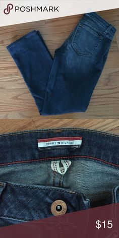Tommy Hilfiger Dark Wash Jeans Lightly worn Tommy Hilfiger light wash jeans! They have been hemmed so fit more like a 2 short than a 2 regular! In excellent condition! Tommy Hilfiger Jeans Straight Leg