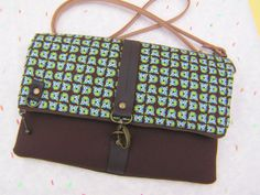 Cross body bag fold over clutch leather strap by bagonebagshop, $49.00