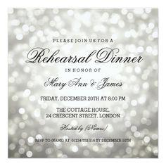 Silver Wedding Glitter Invitations Elegant Rehearsal Dinner Silver Glitter Lights Card