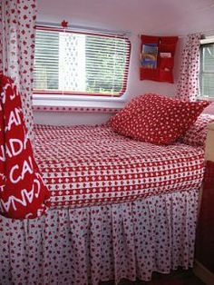 rear bed/seating in camper - like the colors and bed skirt, want something like this in mine