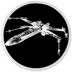 Star Wars Round Beach Towel featuring the drawing Star Wars T-65 X-wing Starfighter White Ink Tee by Edward Fielding
