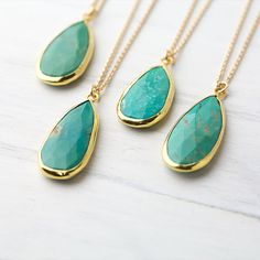 Green Turquoise Teardrop Gold Necklace / Natural Turquoise Pear Pendant with 24K Gold / OOAK / Limited Edition
