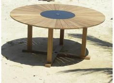 8 Seater Contemporary Round Teak Garden Table