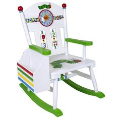 Wildkin The Very Hungry Caterpillar Rocker, White Hungry Caterpillar Nursery, Very Hungry Caterpillar, Caterpillar Craft, Rocking Chair Nursery, Childrens Rocking Chairs, Eric Carle, Kids Furniture, Rustic Furniture, Painted Furniture