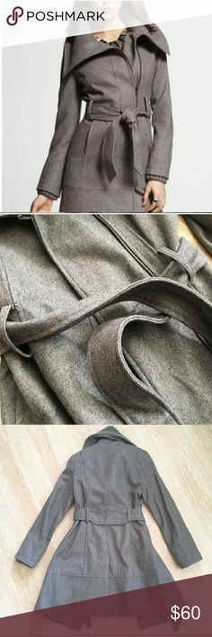 Express wool blend shawl neck grey peacoat This beautiful coat has been worn a few times but is in excellent condition. The bust measures at 18 inches across and the length is 34 inches. Express Jackets & Coats Pea Coats