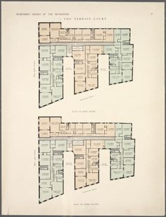 The Terrace Court. Plan of first floor ; Plan of upper floor. From New York Public Library Digital Collections.