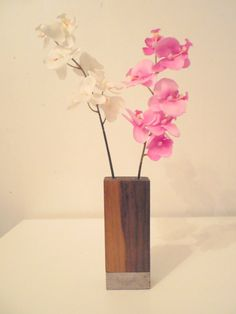 Brooklyn Lofts Munchkin Vase walnut on concrete flower vase- Beautiful little piece that will fit perfect for your desk or side table. Weve made