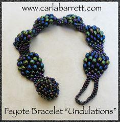 Undulations. Tutorial on wavy/bumpy/textured peyote stitch.