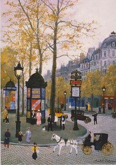 """""""Colonnes Morris Boulevard des Capucines à Paris en 1900"""" de Michel Delacroix"""