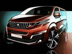 """""""Some sketches for the Peugeot TRAVELLER. This has been a nice project... we aimed for the """"utility"""" version to be hyper practical, the """"family"""" fonctional…"""""""