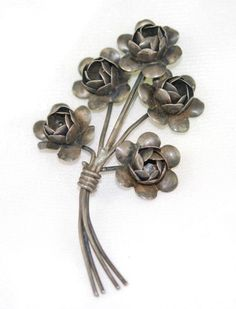 Coro Sterling silver floral pin. Nice large size, found at an estate sale. Circa 1920-30's Early Coro signature