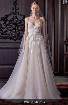 Monique Lhuillier 'Severine' Chantilly Lace & Tulle Gown (In Stores Only) available at #Nordstrom