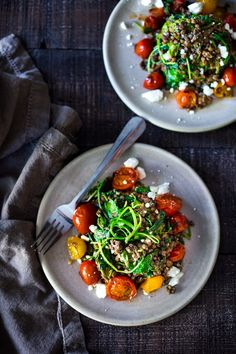 Lentils with Blistered Tomatoes and Kale- a simple vegetarian lentil recipe seasoned with Middle Eastern spices & topped with feta. Healthy, tasty! | www.feastingathome.com #halfcuphabit #lentilrecipes #vegetarianlentils