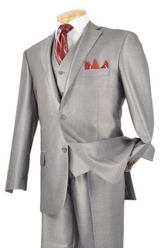 Vinci Men Suit Grey - Church Suits For Less Year Round Classic 3 Piece Suit Vinci Collection 2019 Luxurious Wool Feel, Single breasted 2 Buttons, suits with vest Side vents, flat front pants, shiny solid. Pants Lined to the Knee Dry Clean Only Imported Next Suits, Mens 3 Piece Suits, Sharkskin Suit, Slim Fit Suits, Church Suits, Fitted Suit, Mens Fashion Suits, Fashion Moda, Cool Suits