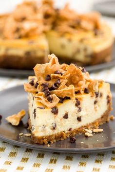 Cannoli Cheesecake and others - The 50 Most Delish Cheesecakes - Studded with mini chocolate chips and topped with pieces of waffle cones, this Italian-style cheesecake is insane. Get the recipe from Delish. Cannoli Cheesecake Recipe, Cheesecake Recipes, Dessert Recipes, Homemade Cheesecake, Chocolate Cheesecake, Dessert Ideas, Cheesecake Pie, Cake Ideas, Fancy Desserts
