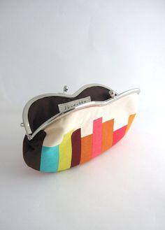 sunglass / eyeglasses case- stripe on beige - snap case- frame purse