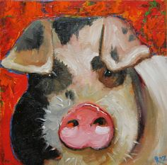 Pig painting 51 12x12 inch original oil painting by Roz by RozArt, $85.00