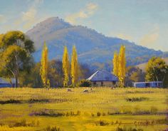 'Autumn In Tumut, nsw' by Graham Gercken Impressionist Landscape, Impressionism Art, Landscape Art, Landscape Paintings, Landscape Photography, Australian Painting, Australian Art, Bull Painting, Painting Abstract
