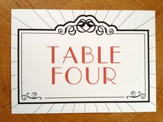 Table Card Art Deco Old Hollywood Glam Black Red by pghpapercraft