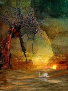 'Schwanensee' von Marie Luise Strohmenger bei artflakes.com als Poster oder Kunstdruck $19.41