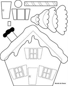 Use this for felt gingerbread house? Artesanato e Cia: Moldes de Natal Christmas Projects, Felt Crafts, Holiday Crafts, Felt Projects, Fabric Crafts, Sewing Projects, Applique Templates, Applique Patterns, Felt Templates