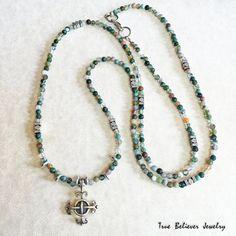 Celtic Cross Moss Agate Necklace by TrueBelieverJewelry on Etsy  $40