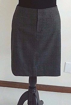 EDDIE BAUER SKIRT SZ 10 NWOT BLACK GRAY PLAID A-LINE SLIDE POCKET CASUAL CAREER #EddieBauer #ALine