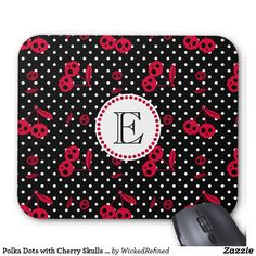 Mouse Pad Polka Dots with Cherry Skulls Monogram By WickedRefined #mousepad #zazzle #cute #skulls #red