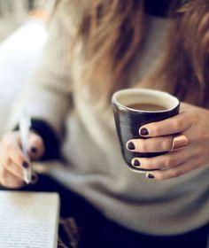 Pottery mug, coffee, study