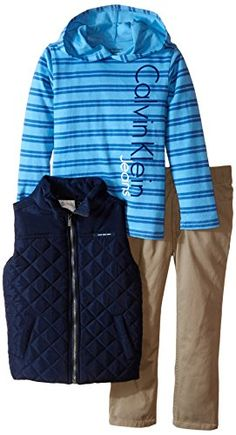 f2119bf9b675 Calvin Klein Little Boys Navy Vest with Hoody and Pants Blue 5    Be sure